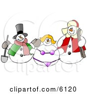 Frosty The Snowman Snow Woman In A Bikini And Another Snow Man Clipart by Dennis Cox