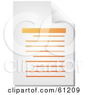 Royalty Free RF Clipart Illustration Of A Curling Page Of An Orange Word Business Document Version 1 by Kheng Guan Toh