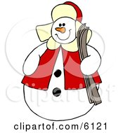 Snowman Holding A Pair Of Skis