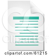 Royalty Free RF Clipart Illustration Of A Curling Page Of A Teal Word Business Document Version 1 by Kheng Guan Toh