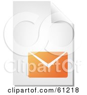 Royalty Free RF Clipart Illustration Of A Curling Page Of An Orange Envelope Business Document by Kheng Guan Toh