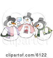 Three Snowmen Drinking And Toasting Clipart