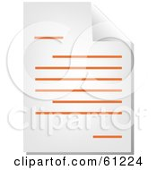 Royalty Free RF Clipart Illustration Of A Curling Page Of An Orange Word Business Document Version 2