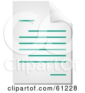 Royalty Free RF Clipart Illustration Of A Curling Page Of A Teal Word Business Document Version 2 by Kheng Guan Toh