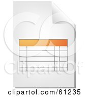 Royalty Free RF Clipart Illustration Of A Curling Page Of An Orange Spreadsheet Business Document by Kheng Guan Toh