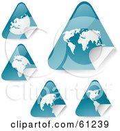 Royalty Free RF Clipart Illustration Of A Digital Collage Of Peeling Triangle Teal Atlas Stickers