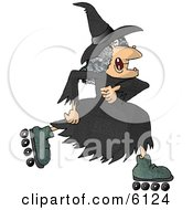 Warty Old Female Witch Roller Skating Clipart