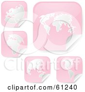 Royalty Free RF Clipart Illustration Of A Digital Collage Of Peeling Square Pink Atlas Stickers