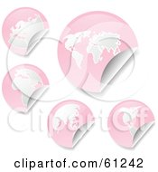Royalty Free RF Clipart Illustration Of A Digital Collage Of Peeling Round Pink Atlas Stickers