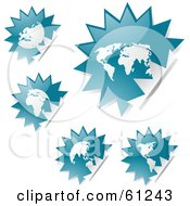 Royalty Free RF Clipart Illustration Of A Digital Collage Of Peeling Burst Teal Atlas Stickers