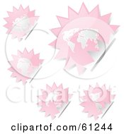 Royalty Free RF Clipart Illustration Of A Digital Collage Of Peeling Burst Pink Atlas Stickers