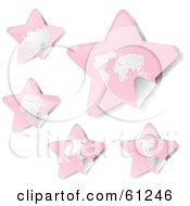 Royalty Free RF Clipart Illustration Of A Digital Collage Of Peeling Star Pink Atlas Stickers