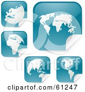 Royalty Free RF Clipart Illustration Of A Digital Collage Of Peeling Square Teal Atlas Stickers