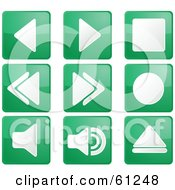 Royalty Free RF Clipart Illustration Of A Digital Collage Of Green Square Audio Icon Buttons by Kheng Guan Toh