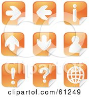 Royalty Free RF Clip Art Illustration Of A Digital Collage Of Orange Arrow Peeling Sticker Icons by Kheng Guan Toh