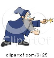 Wizard Man In A Blue Gown Pointing His Magic Wand Clipart