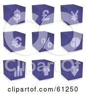 Royalty Free RF Clipart Illustration Of A Digital Collage Of Purple 3d Cubes With Financial Symbols
