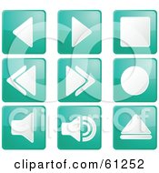 Royalty Free RF Clipart Illustration Of A Digital Collage Of Teal Square Audio Icon Buttons by Kheng Guan Toh