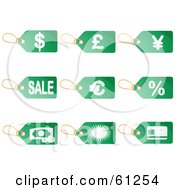 Royalty Free RF Clipart Illustration Of A Digital Collage Of Green Commerce Price Tags