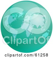 Royalty Free RF Clipart Illustration Of A Shiny Green 3d World Globe by Kheng Guan Toh
