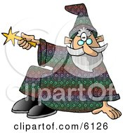 Sitting Wizard Man Pointing His Magic Wand Clipart