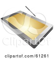 Royalty Free RF Clipart Illustration Of A Tablet PC With A Golden Screen by Kheng Guan Toh