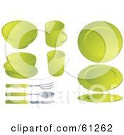 Royalty Free RF Clipart Illustration Of A Digital Collage Of Green Dishes And Silverware