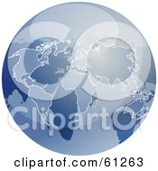 Royalty Free RF Clipart Illustration Of A Shiny Blue 3d Globe by Kheng Guan Toh