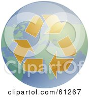 Royalty Free RF Clipart Illustration Of Brown Recycle Arrows Over A Shiny Earth by Kheng Guan Toh