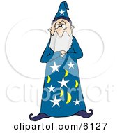 Bearded Wizard Man In A Star And Moon Patterned Hat And Gown Standing With His Arms Crossed