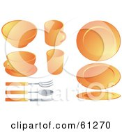 Royalty Free RF Clipart Illustration Of A Digital Collage Of Orange Dishes And Silverware