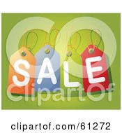 Royalty Free RF Clipart Illustration Of Colorful Price Tags Spelling Sale Over A Green Background