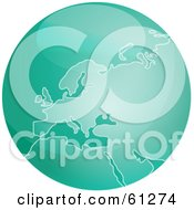 Royalty Free RF Clipart Illustration Of A Shiny Green 3d Europe Globe by Kheng Guan Toh