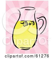 Pitcher Of Lemonade On A Bursting Pink Background