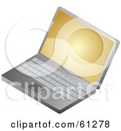 Royalty Free RF Clipart Illustration Of A Golden Screensaver On A Laptop Computer by Kheng Guan Toh