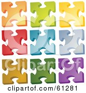 Royalty Free RF Clipart Illustration Of A Digital Collage Of Colorful Jigsaw Puzzle Pieces On White Version 2
