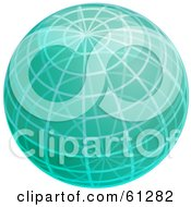 Royalty Free RF Clipart Illustration Of A Shiny Green 3d Wire Globe by Kheng Guan Toh