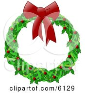Christmas Wreath With A Red Bow Holly And Berries Clipart Illustration