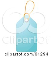 Royalty Free RF Clipart Illustration Of A Shiny Light Blue Blank Price Tag With A String