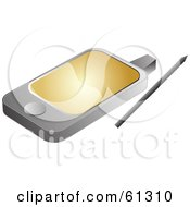 Royalty Free RF Clipart Illustration Of A Modern PDA With A Golden Screen Saver