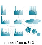 Royalty Free RF Clipart Illustration Of A Digital Collage Of Blue Factories And Clouds