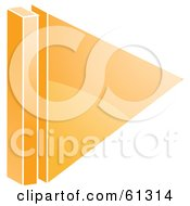 Royalty Free RF Clipart Illustration Of A 3d Orange Play Arrow Icon Version 1