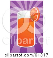 Royalty Free RF Clipart Illustration Of A Tall Glass Of Orange Juice Garnished With A Slice On A Purple Bursting Background