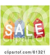 Royalty Free RF Clipart Illustration Of Colorful Sale Price Tags Over A Bursting Green Background by Kheng Guan Toh