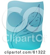 Royalty Free RF Clipart Illustration Of A Curving Blue Leaf On A Blue And White Background