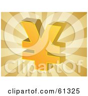 Royalty Free RF Clipart Illustration Of A Yellow 3d Yen Symbol On A Bursting Brown Background