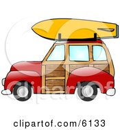 Woody Car With A Surfboard On The Roof Rack