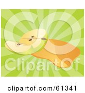 Royalty Free RF Clipart Illustration Of Apple Juice And A Sliced Green Apple On A Bursting Green Background
