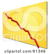 Royalty Free RF Clipart Illustration Of A Declining Red Line On A Yellow Grid Graph
