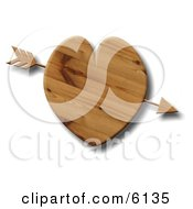 Arrow Through A Wooden Heart Clipart Illustration